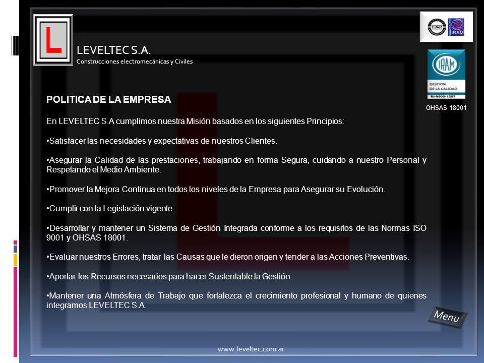 LEVELTEC S.A. Menu POLITICA DE LA EMPRESA