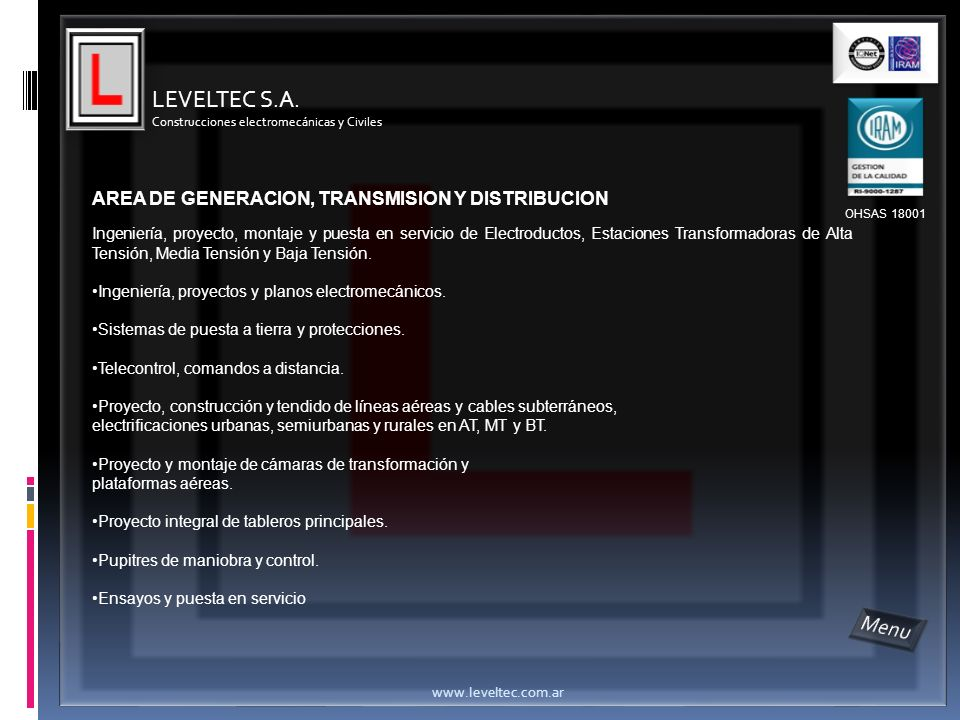 LEVELTEC S.A. Menu AREA DE GENERACION, TRANSMISION Y DISTRIBUCION