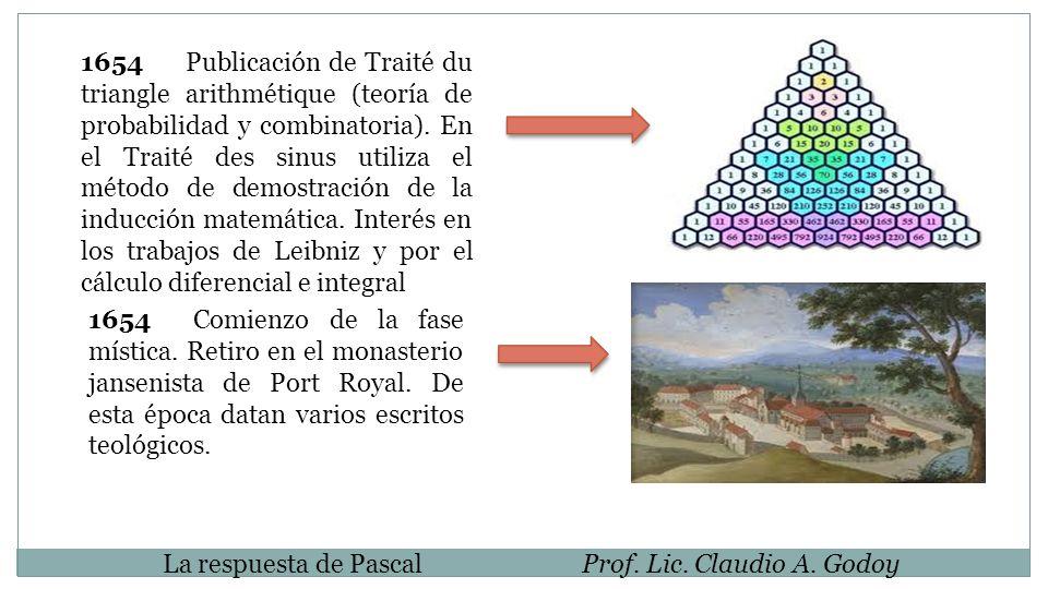 1654 Publicación de Traité du triangle arithmétique (teoría de probabilidad y combinatoria). En el Traité des sinus utiliza el método de demostración de la inducción matemática. Interés en los trabajos de Leibniz y por el cálculo diferencial e integral