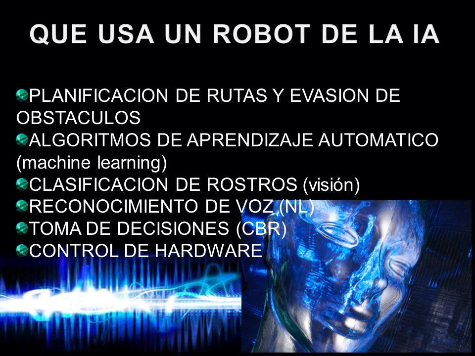QUE USA UN ROBOT DE LA IA PLANIFICACION DE RUTAS Y EVASION DE OBSTACULOS. ALGORITMOS DE APRENDIZAJE AUTOMATICO (machine learning)