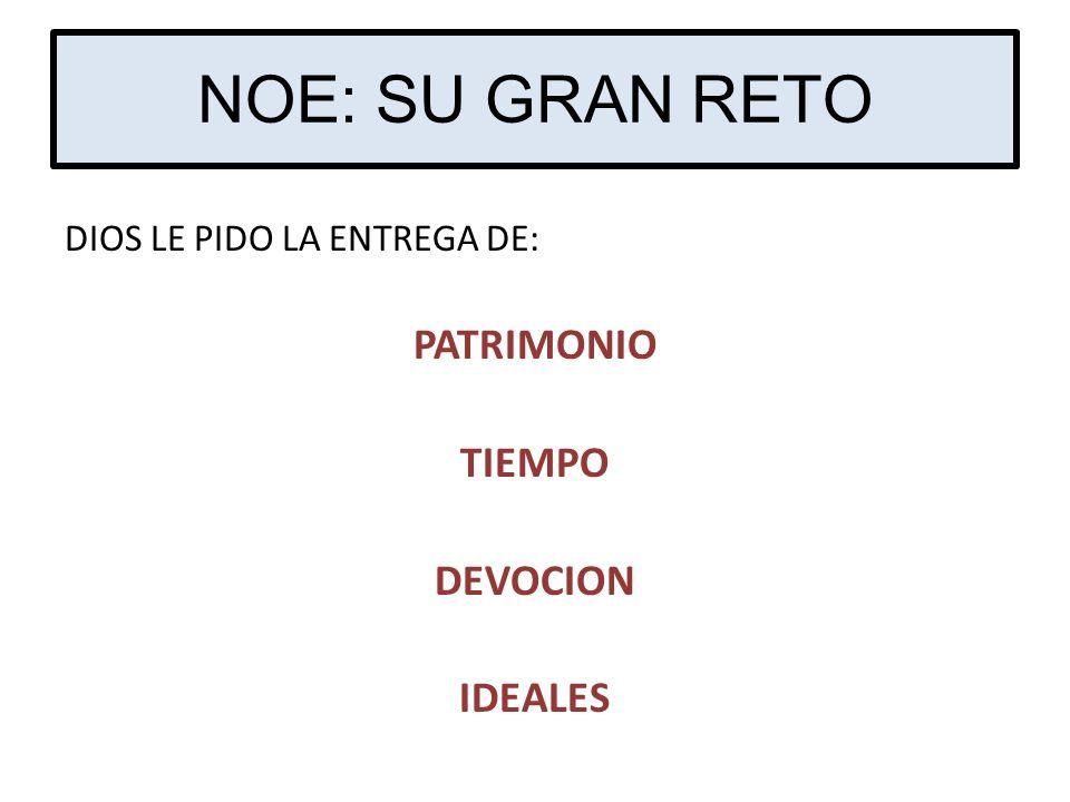 NOE: SU GRAN RETO PATRIMONIO TIEMPO DEVOCION IDEALES