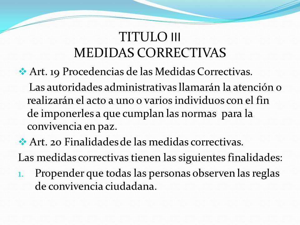 TITULO III MEDIDAS CORRECTIVAS