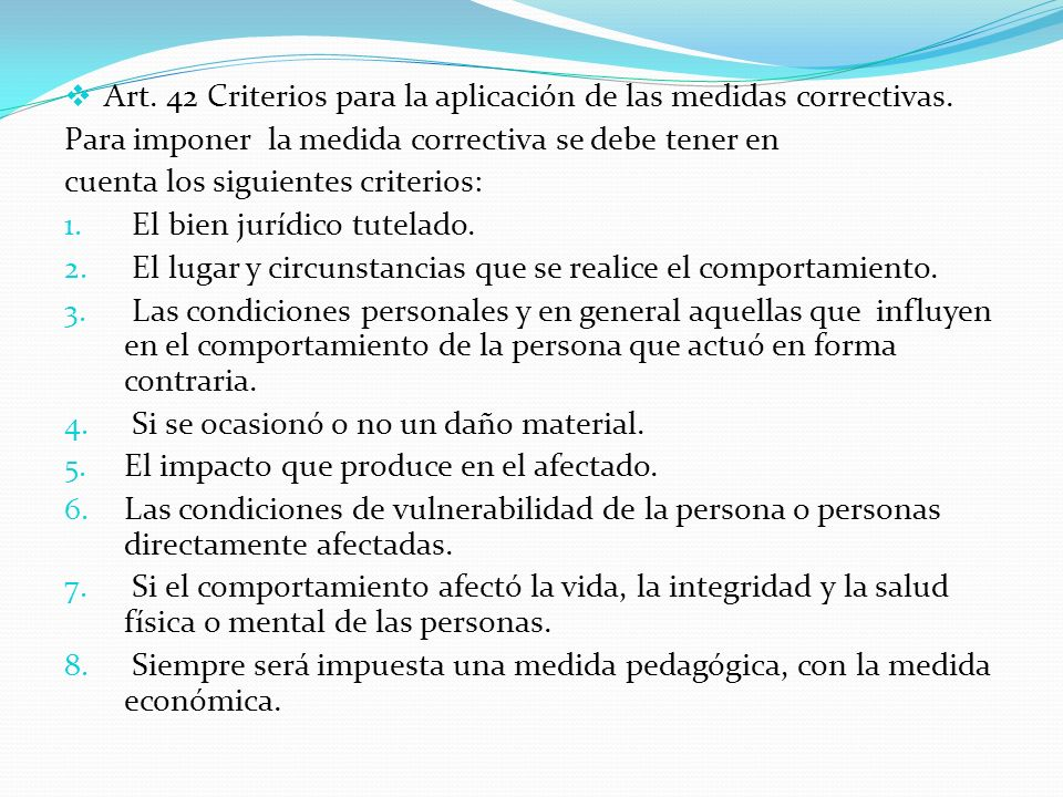 Art. 42 Criterios para la aplicación de las medidas correctivas.