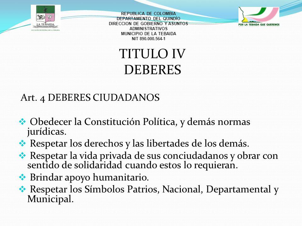 TITULO IV DEBERES Art. 4 DEBERES CIUDADANOS