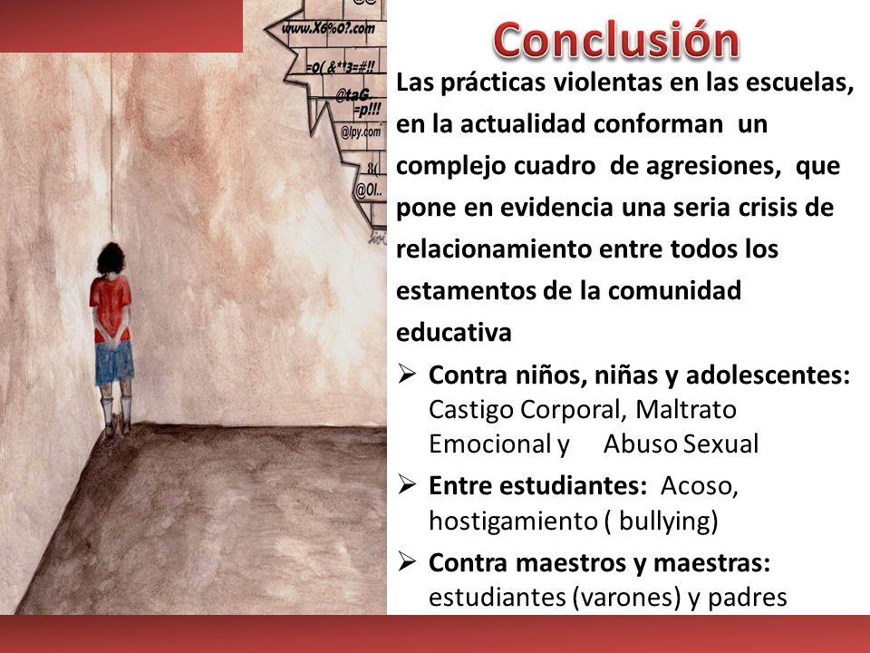 Conclusión Las prácticas violentas en las escuelas,