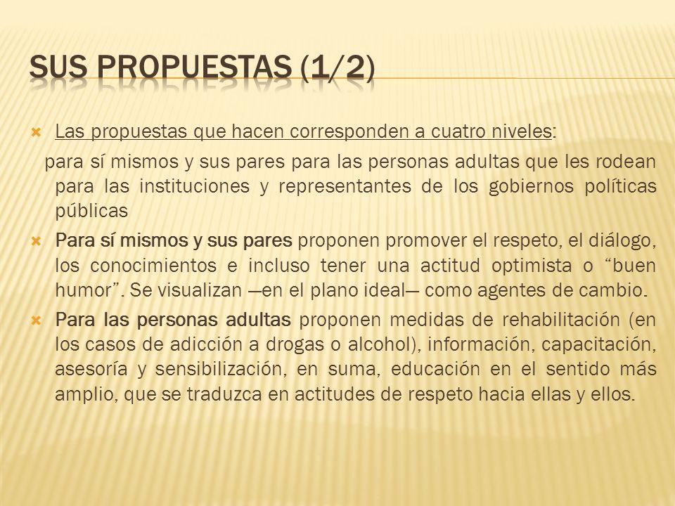 Sus propuestas (1/2) Las propuestas que hacen corresponden a cuatro niveles: