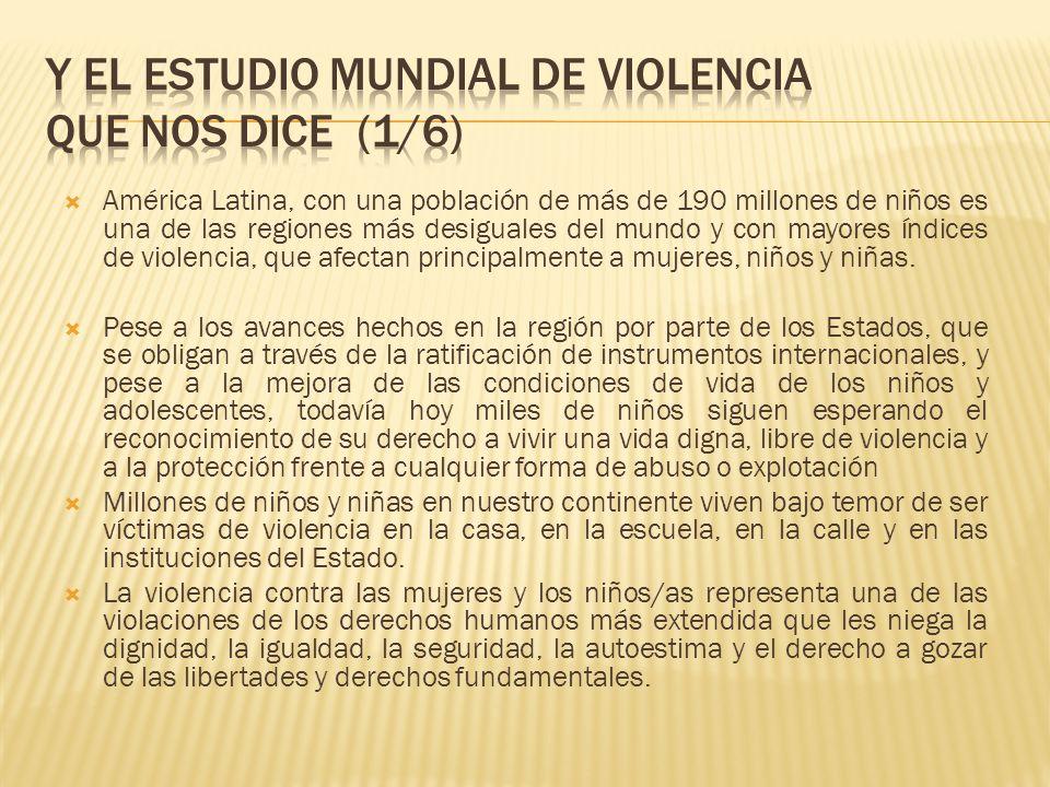 Y el estudio Mundial de Violencia que nos dice (1/6)