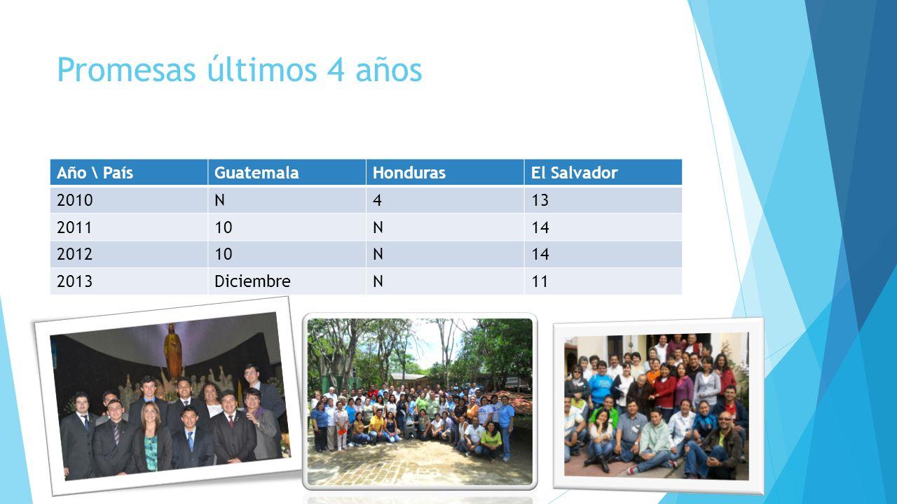 Promesas últimos 4 años Año \ País Guatemala Honduras El Salvador 2010