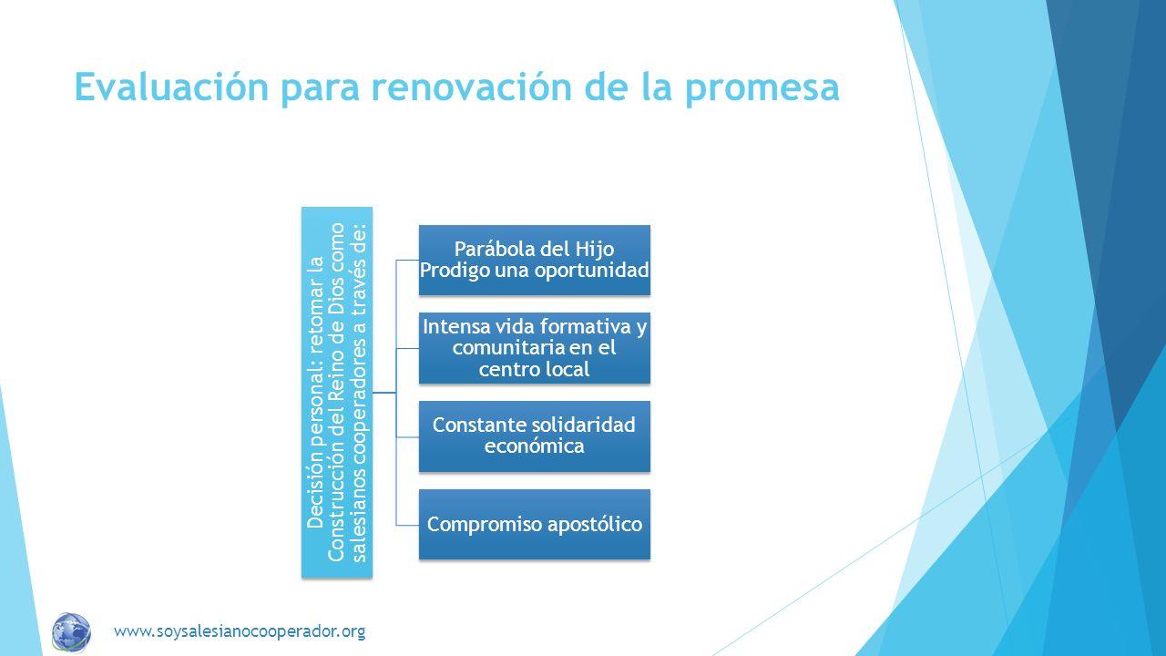 Evaluación para renovación de la promesa