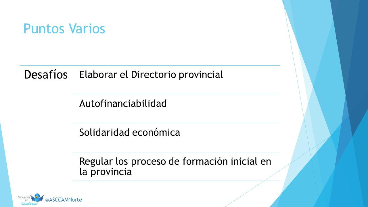 Puntos Varios Desafíos Elaborar el Directorio provincial