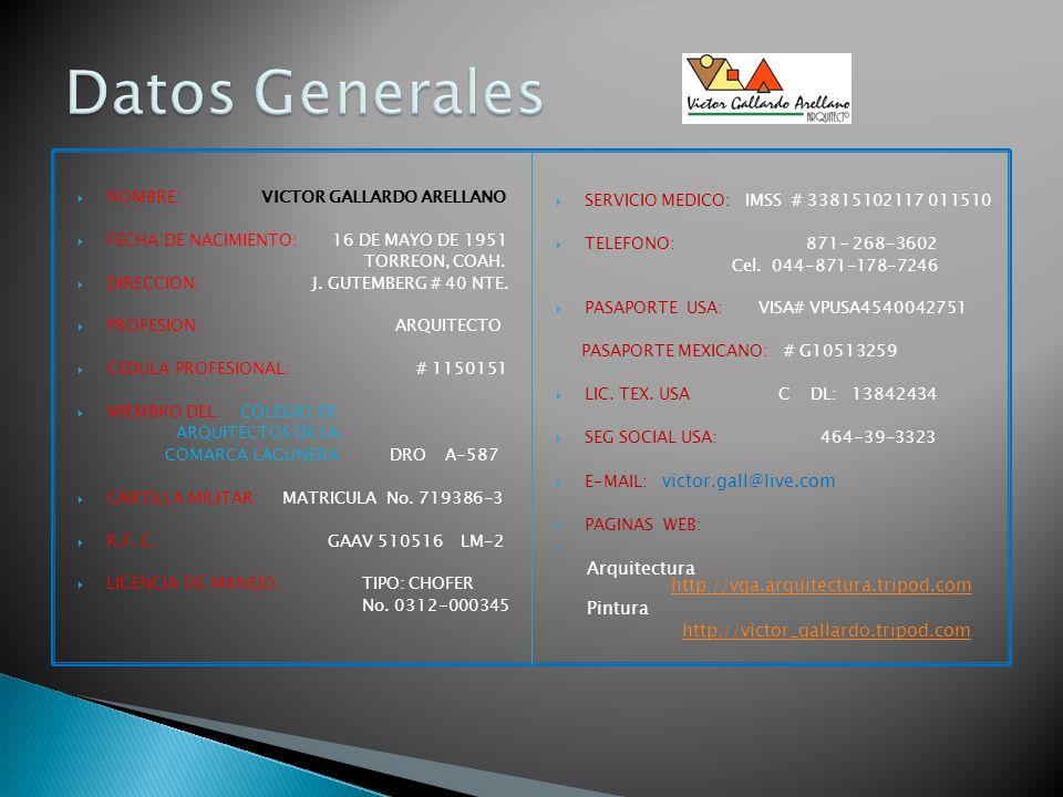 Datos Generales SERVICIO MEDICO: IMSS # 33815102117 011510