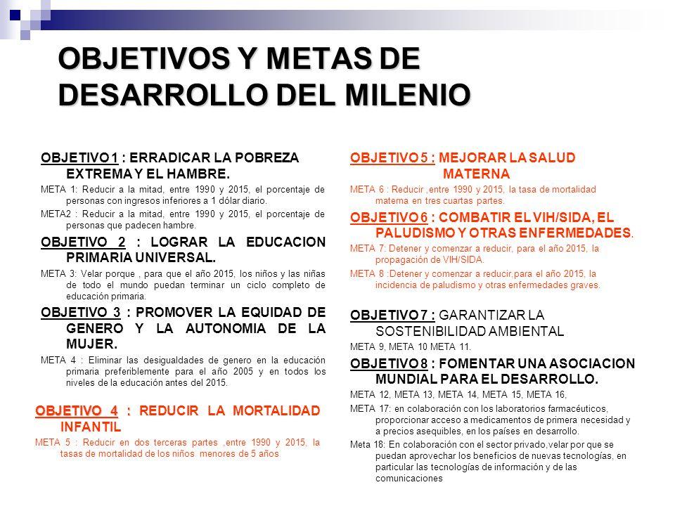 OBJETIVOS Y METAS DE DESARROLLO DEL MILENIO