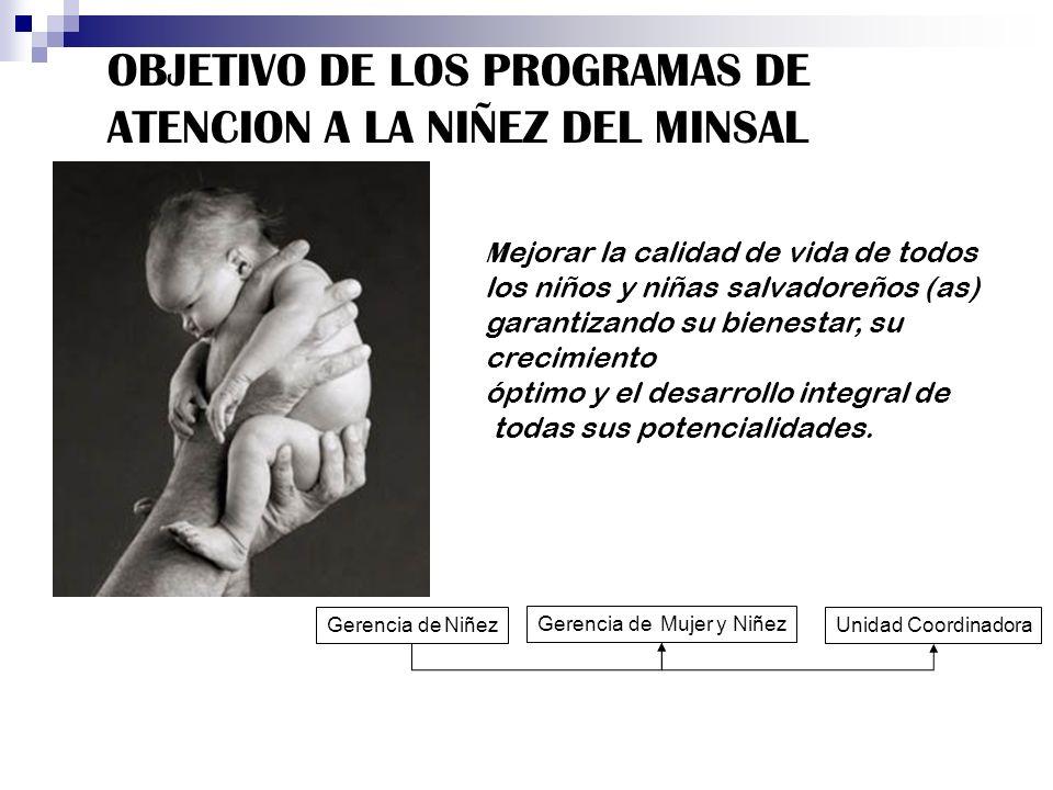 OBJETIVO DE LOS PROGRAMAS DE ATENCION A LA NIÑEZ DEL MINSAL