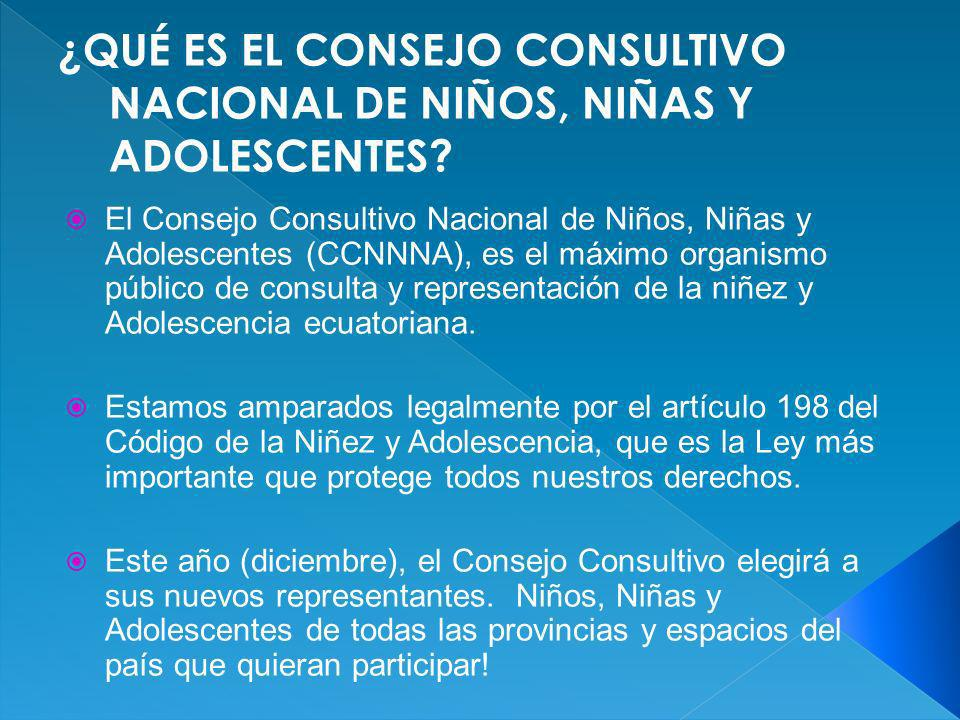 ¿QUÉ ES EL CONSEJO CONSULTIVO NACIONAL DE NIÑOS, NIÑAS Y ADOLESCENTES