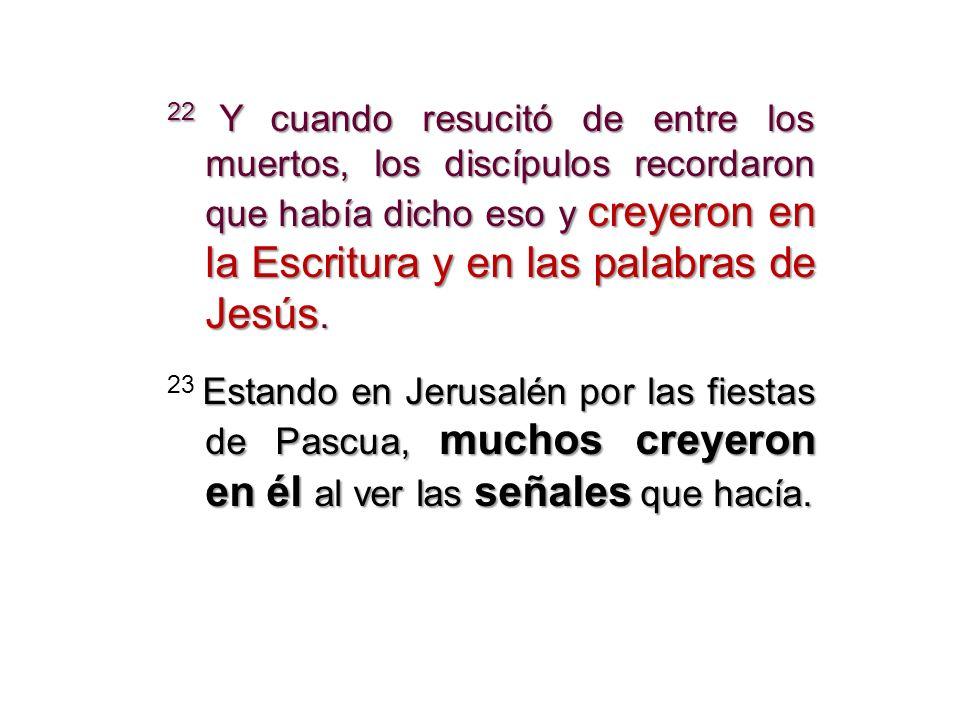 22 Y cuando resucitó de entre los muertos, los discípulos recordaron que había dicho eso y creyeron en la Escritura y en las palabras de Jesús.