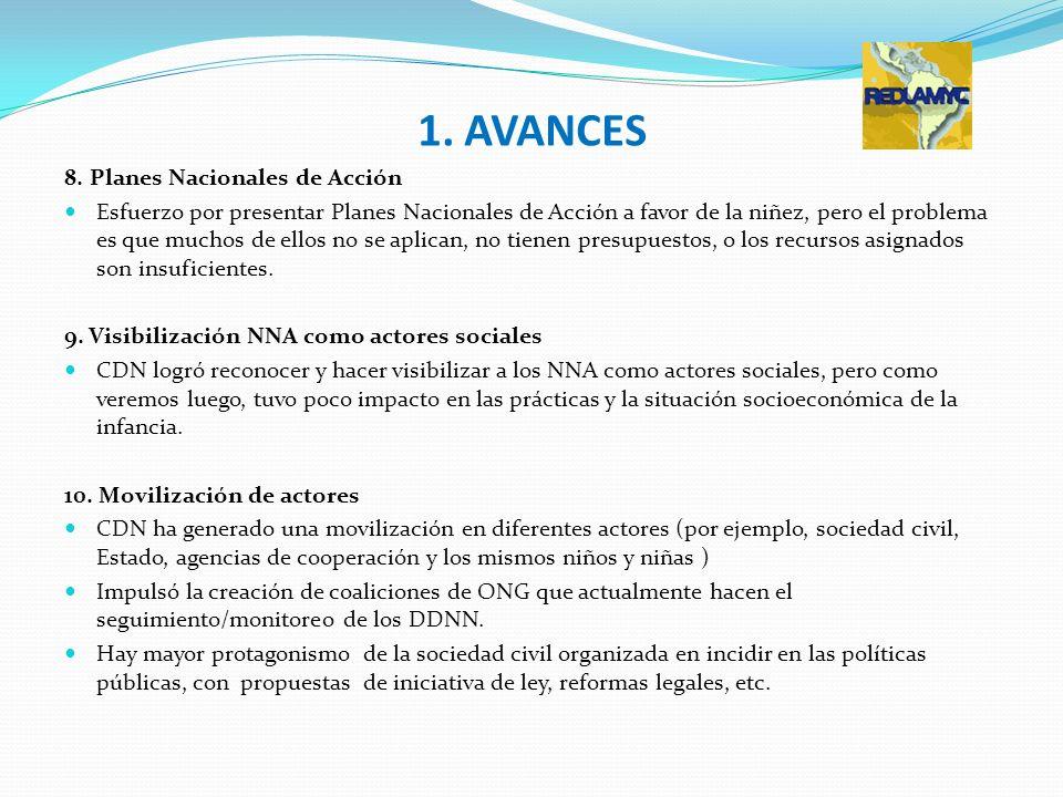 1. AVANCES 8. Planes Nacionales de Acción