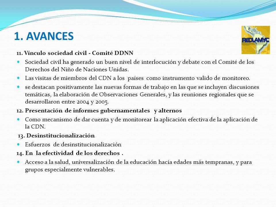 1. AVANCES 11. Vínculo sociedad civil - Comité DDNN