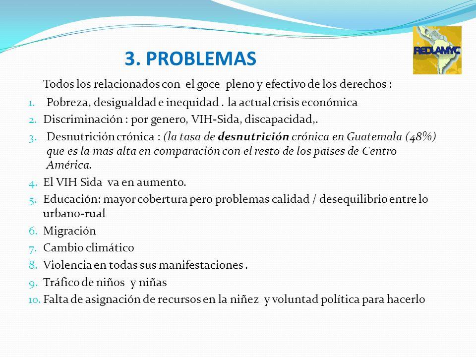 3. PROBLEMAS Todos los relacionados con el goce pleno y efectivo de los derechos : Pobreza, desigualdad e inequidad . la actual crisis económica.