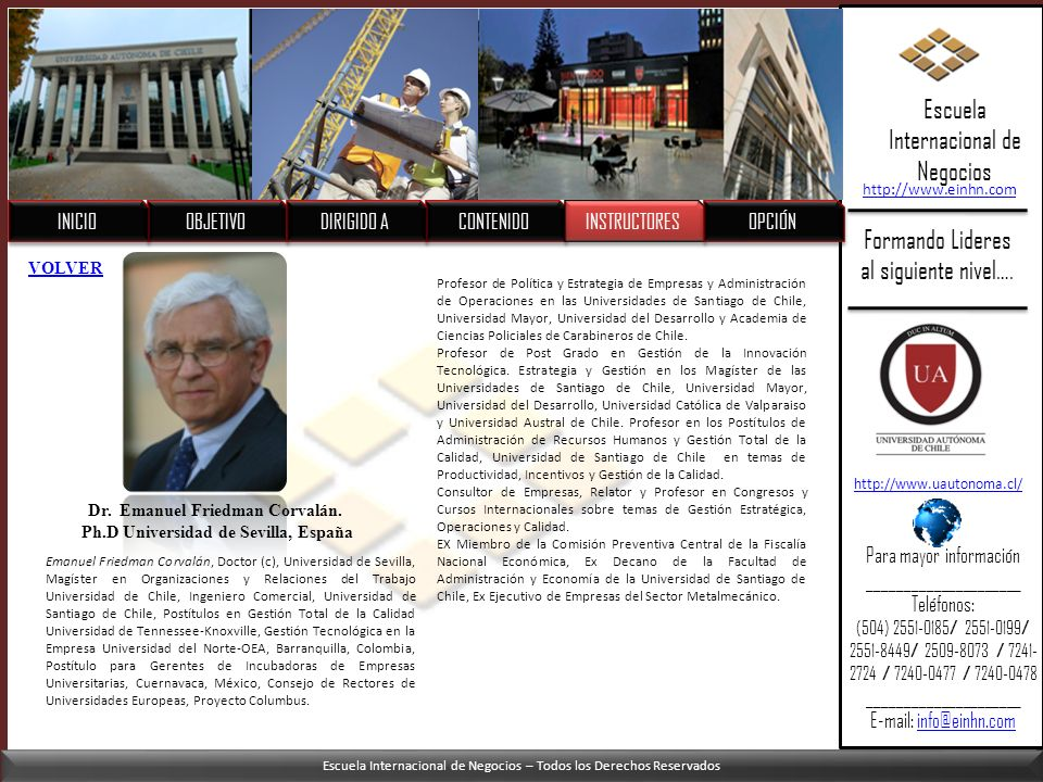 Dr. Emanuel Friedman Corvalán. Ph.D Universidad de Sevilla, España