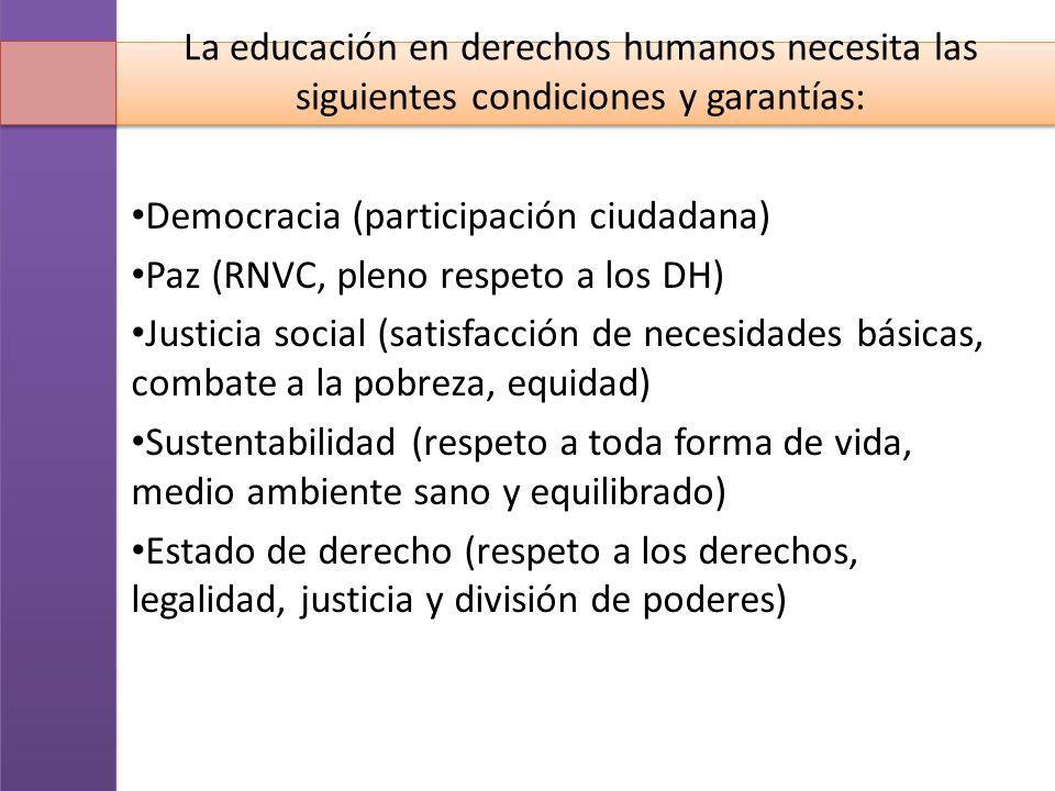 La educación en derechos humanos necesita las siguientes condiciones y garantías: