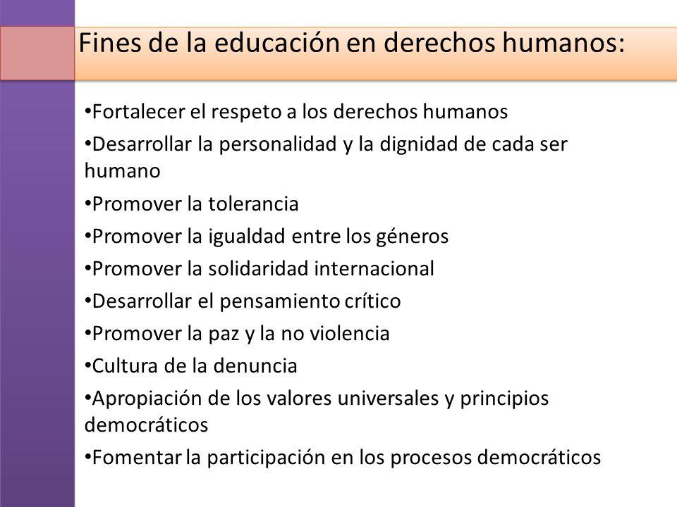 Fines de la educación en derechos humanos: