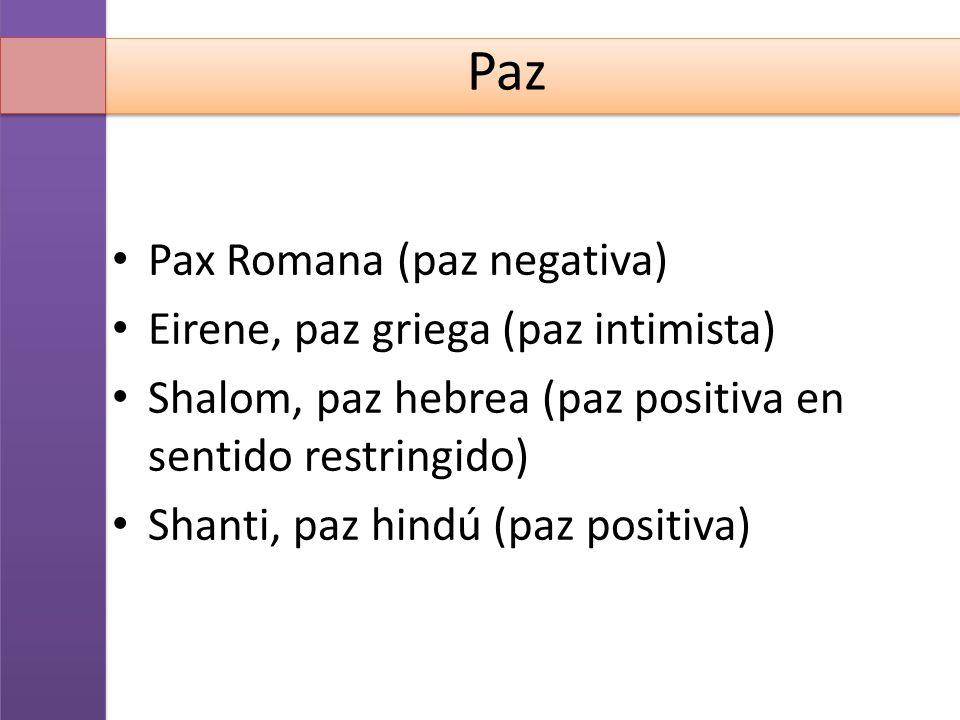 Paz Pax Romana (paz negativa) Eirene, paz griega (paz intimista)