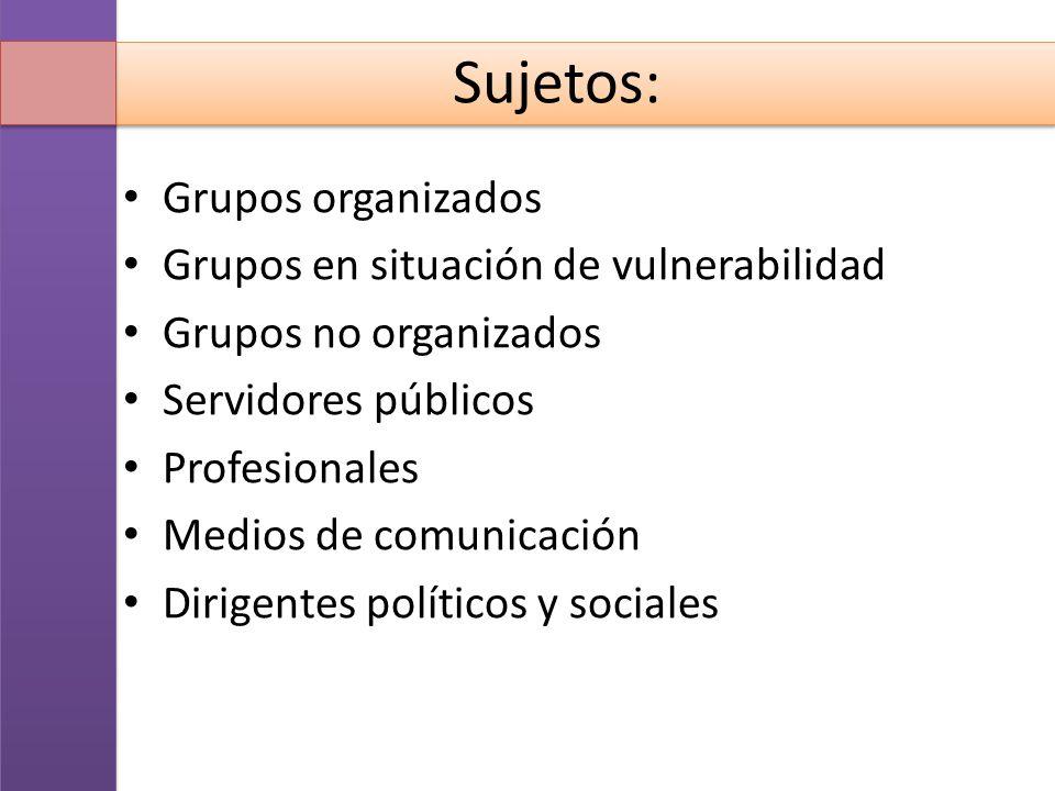 Sujetos: Grupos organizados Grupos en situación de vulnerabilidad
