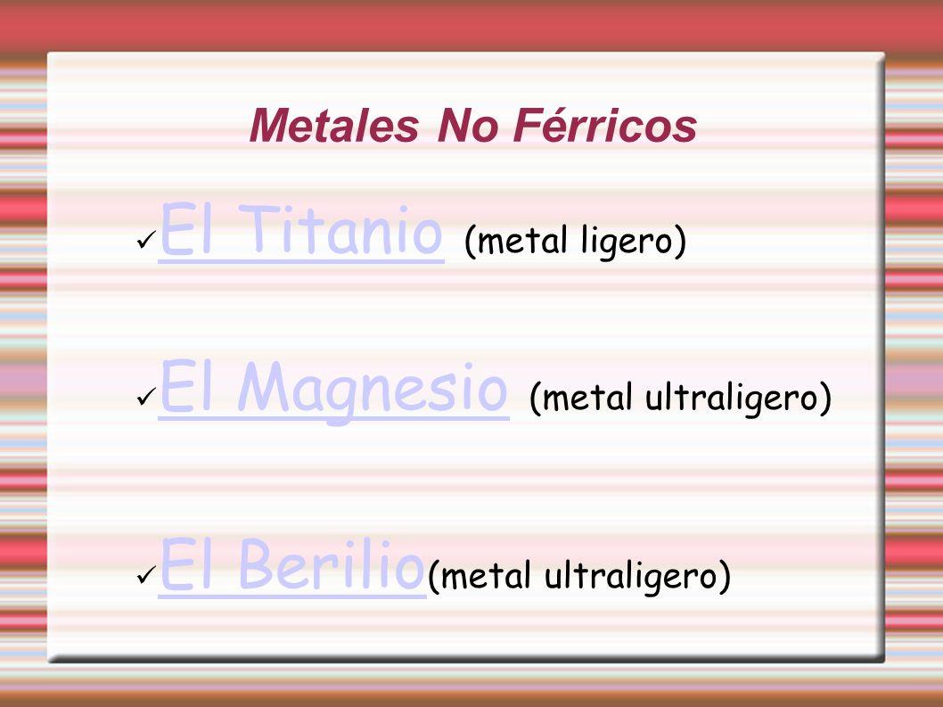 El Titanio (metal ligero) El Magnesio (metal ultraligero)