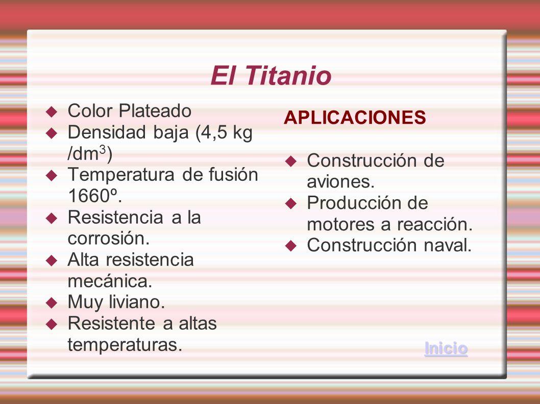 El Titanio Color Plateado APLICACIONES Densidad baja (4,5 kg /dm3)
