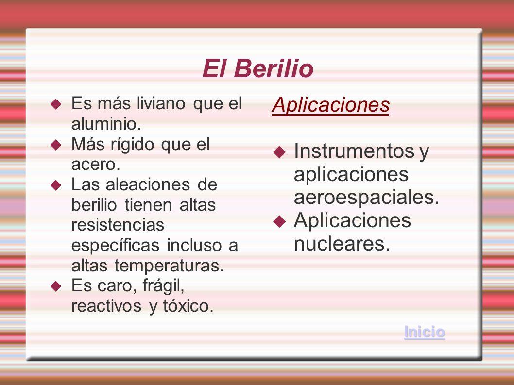 El Berilio Aplicaciones Instrumentos y aplicaciones aeroespaciales.
