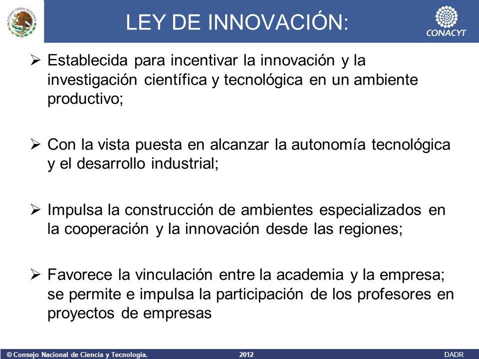 LEY DE INNOVACIÓN: Establecida para incentivar la innovación y la investigación científica y tecnológica en un ambiente productivo;