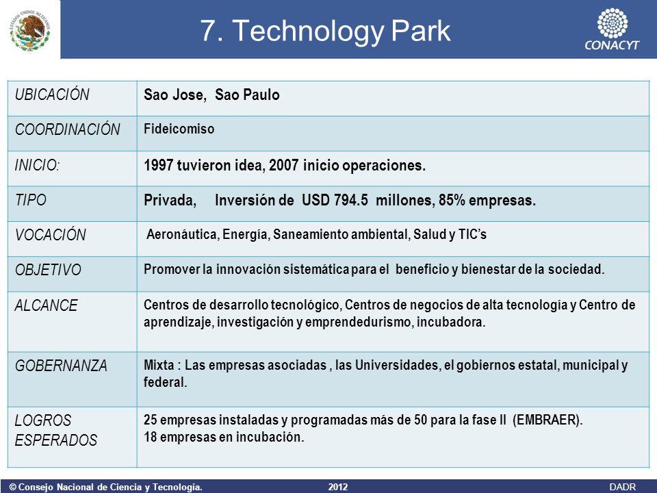 7. Technology Park UBICACIÓN Sao Jose, Sao Paulo COORDINACIÓN INICIO:
