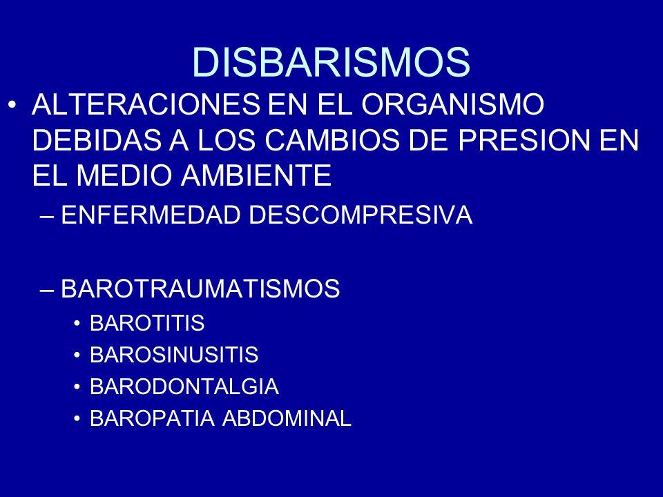 DISBARISMOS ALTERACIONES EN EL ORGANISMO DEBIDAS A LOS CAMBIOS DE PRESION EN EL MEDIO AMBIENTE. ENFERMEDAD DESCOMPRESIVA.
