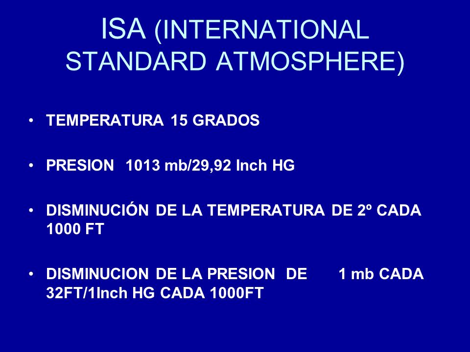 ISA (INTERNATIONAL STANDARD ATMOSPHERE)