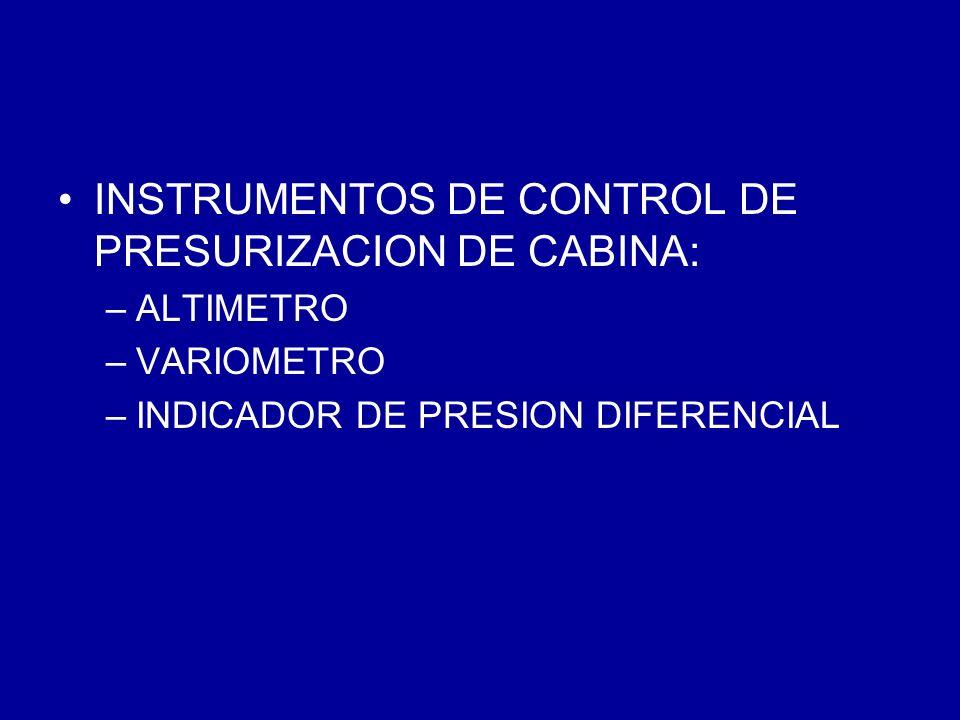 INSTRUMENTOS DE CONTROL DE PRESURIZACION DE CABINA: