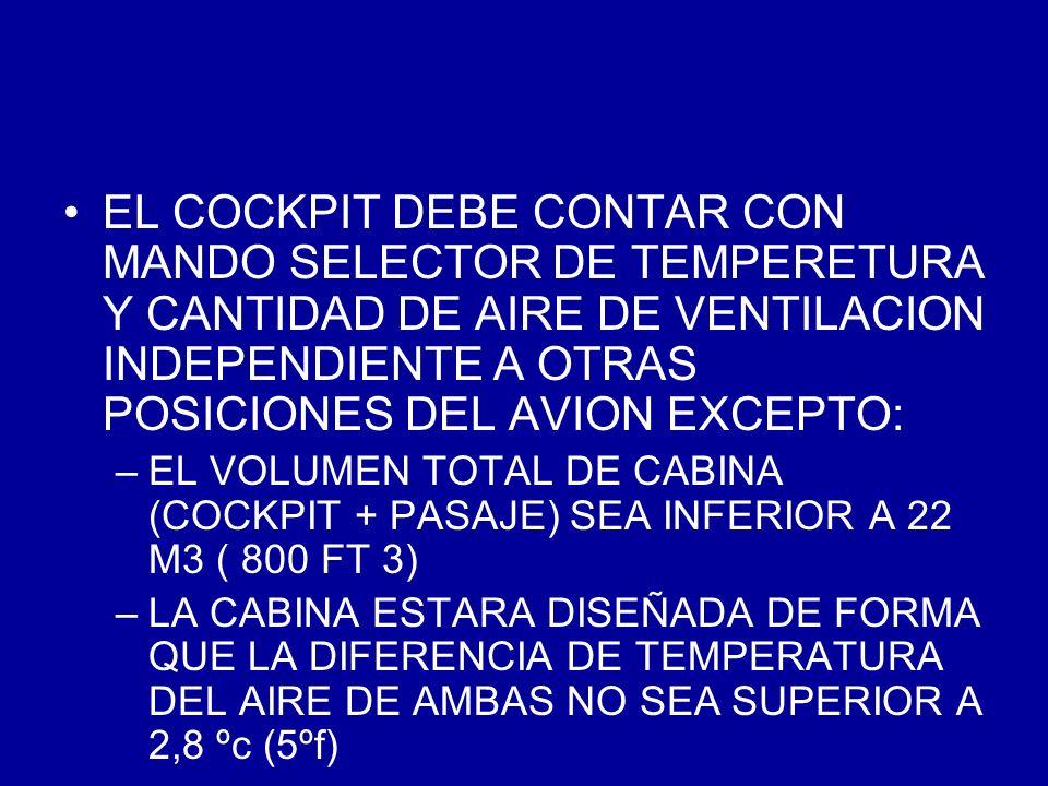 EL COCKPIT DEBE CONTAR CON MANDO SELECTOR DE TEMPERETURA Y CANTIDAD DE AIRE DE VENTILACION INDEPENDIENTE A OTRAS POSICIONES DEL AVION EXCEPTO: