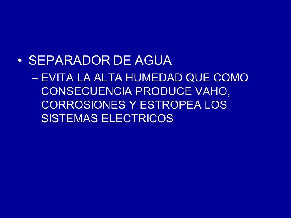 SEPARADOR DE AGUA EVITA LA ALTA HUMEDAD QUE COMO CONSECUENCIA PRODUCE VAHO, CORROSIONES Y ESTROPEA LOS SISTEMAS ELECTRICOS.
