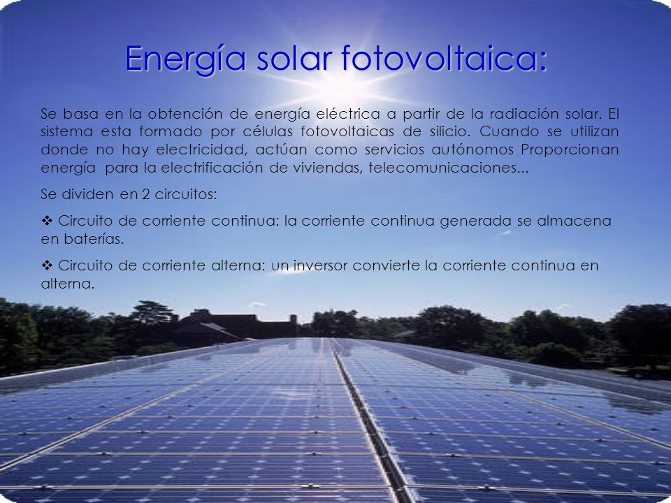Energía solar fotovoltaica: