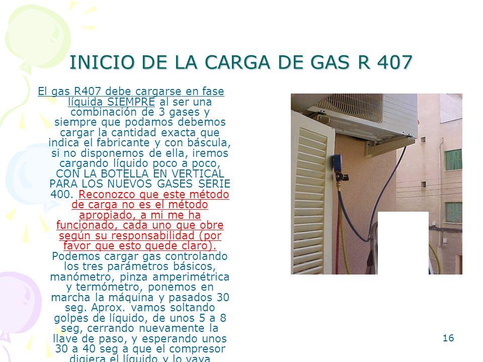 INICIO DE LA CARGA DE GAS R 407
