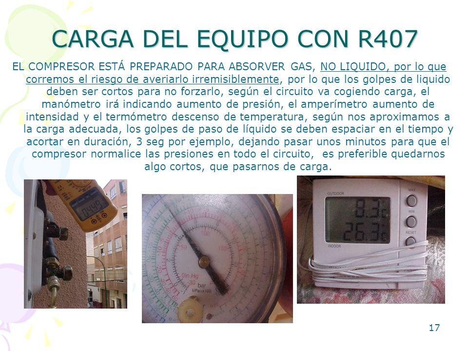 CARGA DEL EQUIPO CON R407
