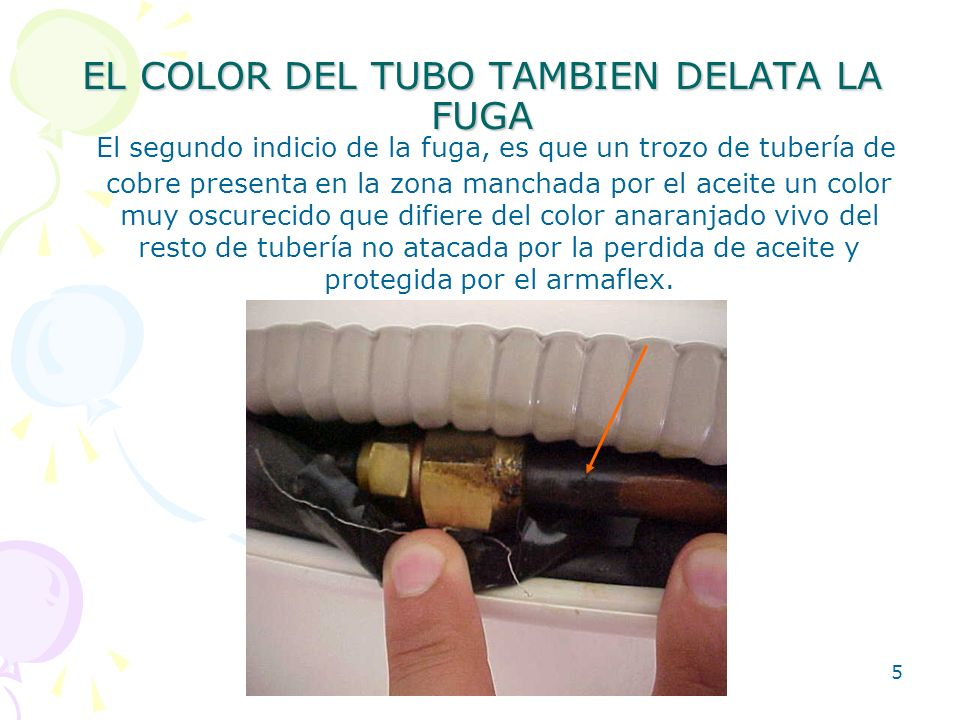 EL COLOR DEL TUBO TAMBIEN DELATA LA FUGA