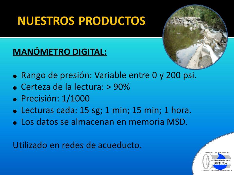 NUESTROS PRODUCTOS MANÓMETRO DIGITAL: