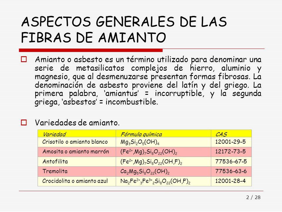 ASPECTOS GENERALES DE LAS FIBRAS DE AMIANTO