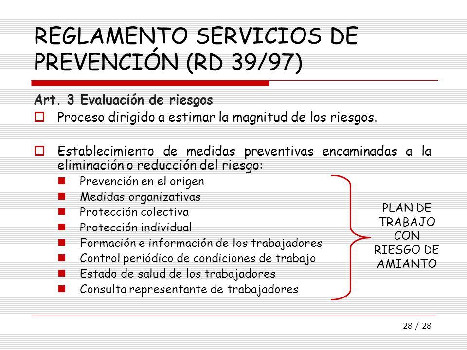 REGLAMENTO SERVICIOS DE PREVENCIÓN (RD 39/97)