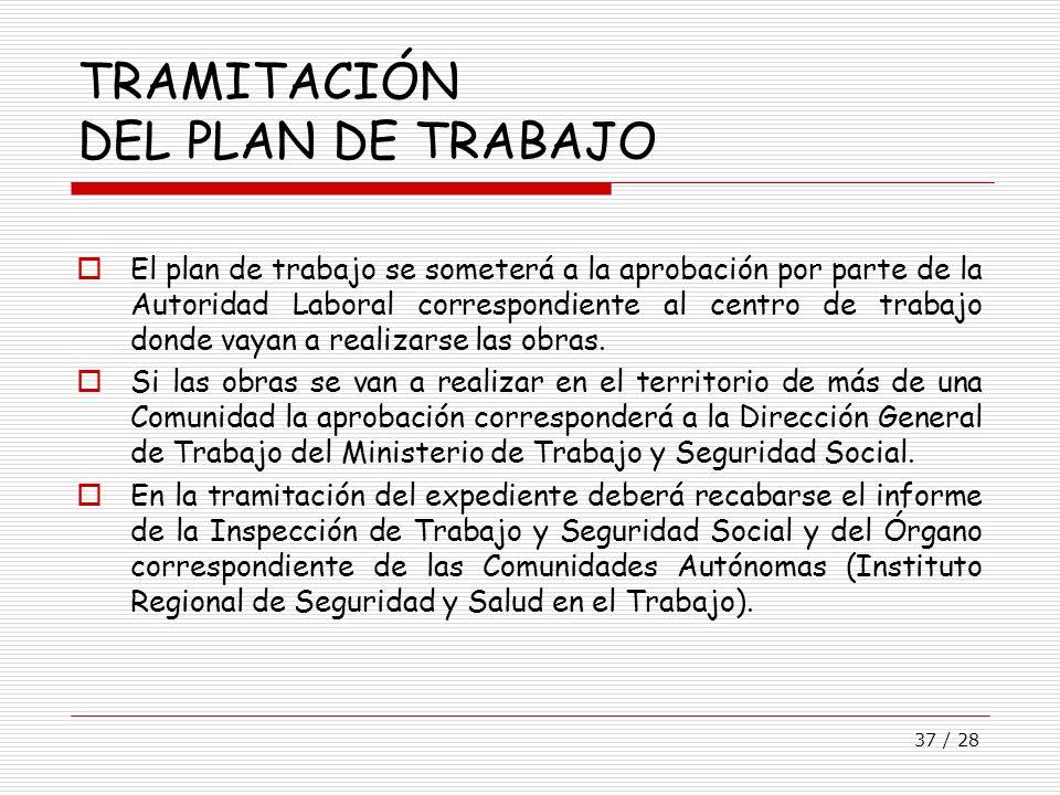 TRAMITACIÓN DEL PLAN DE TRABAJO