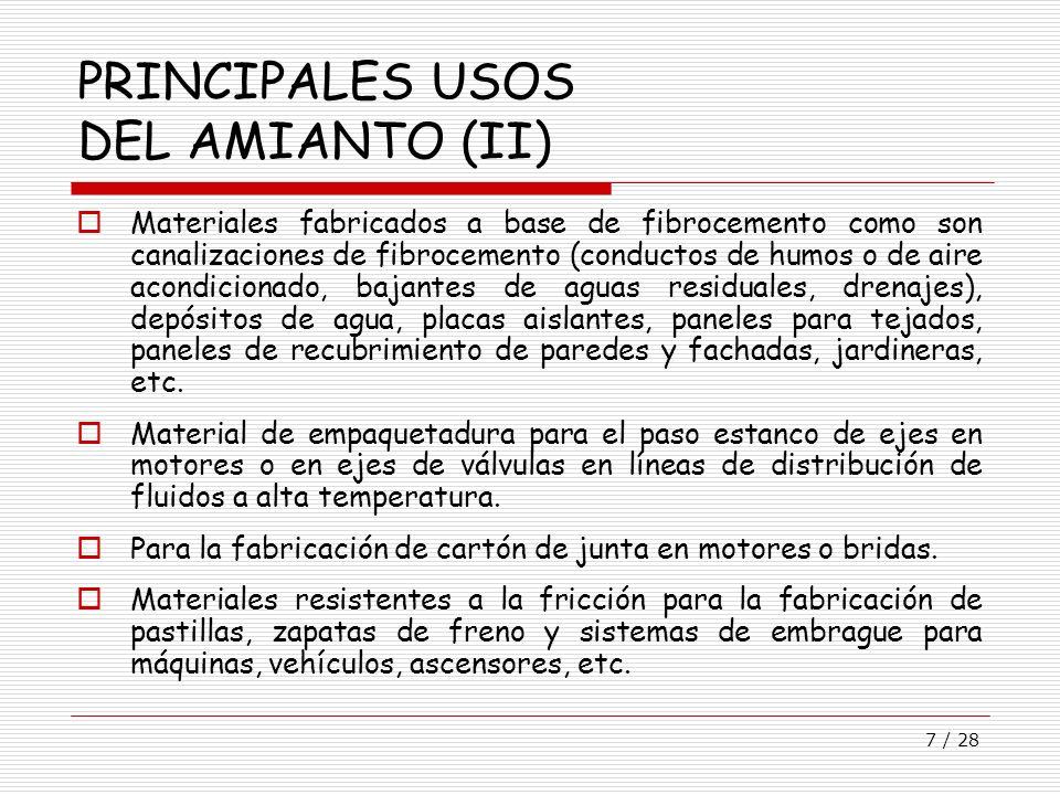 PRINCIPALES USOS DEL AMIANTO (II)