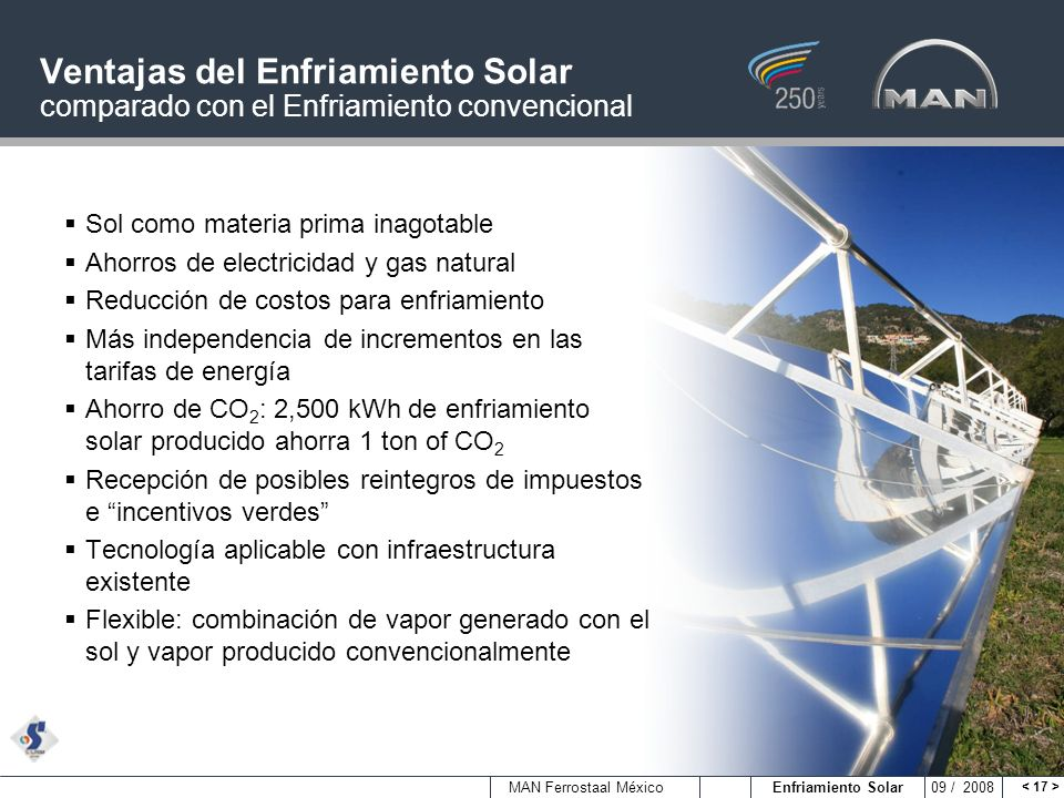 Ventajas del Enfriamiento Solar comparado con el Enfriamiento convencional