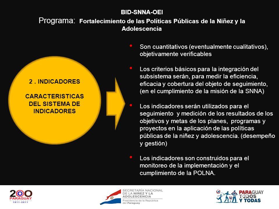 CARACTERISTICAS DEL SISTEMA DE INDICADORES