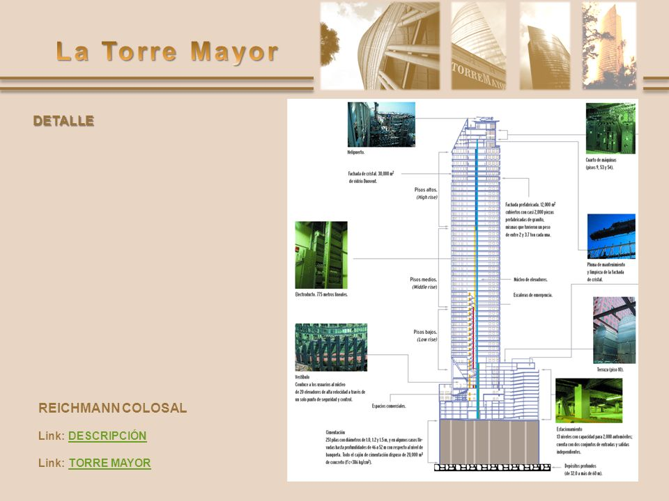 DETALLE REICHMANN COLOSAL Link: DESCRIPCIÓN Link: TORRE MAYOR