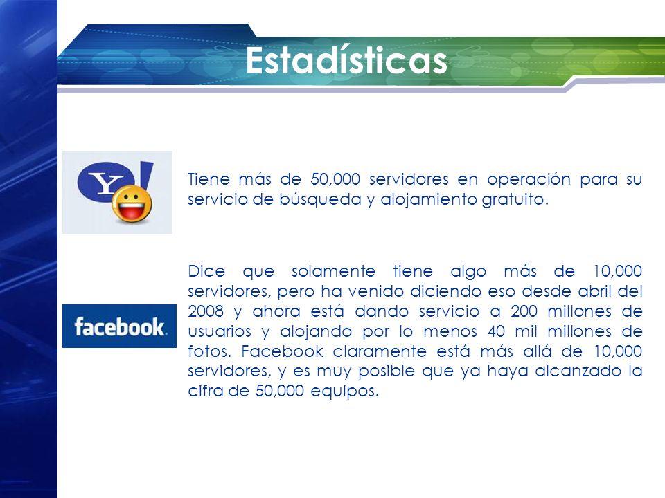 Estadísticas Tiene más de 50,000 servidores en operación para su servicio de búsqueda y alojamiento gratuito.